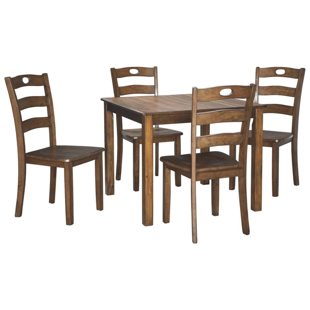 Set of 5 Hazelteen Square Counter Table Set Medium Brown - Signature Design by Ashley