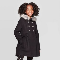 Girls' Faux Fur Hood Jacket - Cat & Jack™