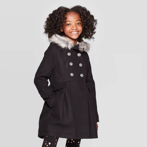 Girls' Faux Fur Hood Jacket - Cat & Jack™ - image 1 of 4