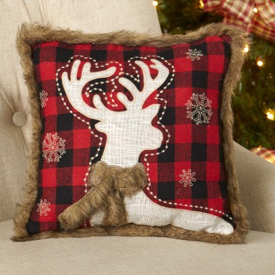 Lakeside Christmas Pillow with Faux Fur - Red and Black Buffalo Plaid - Reindeer