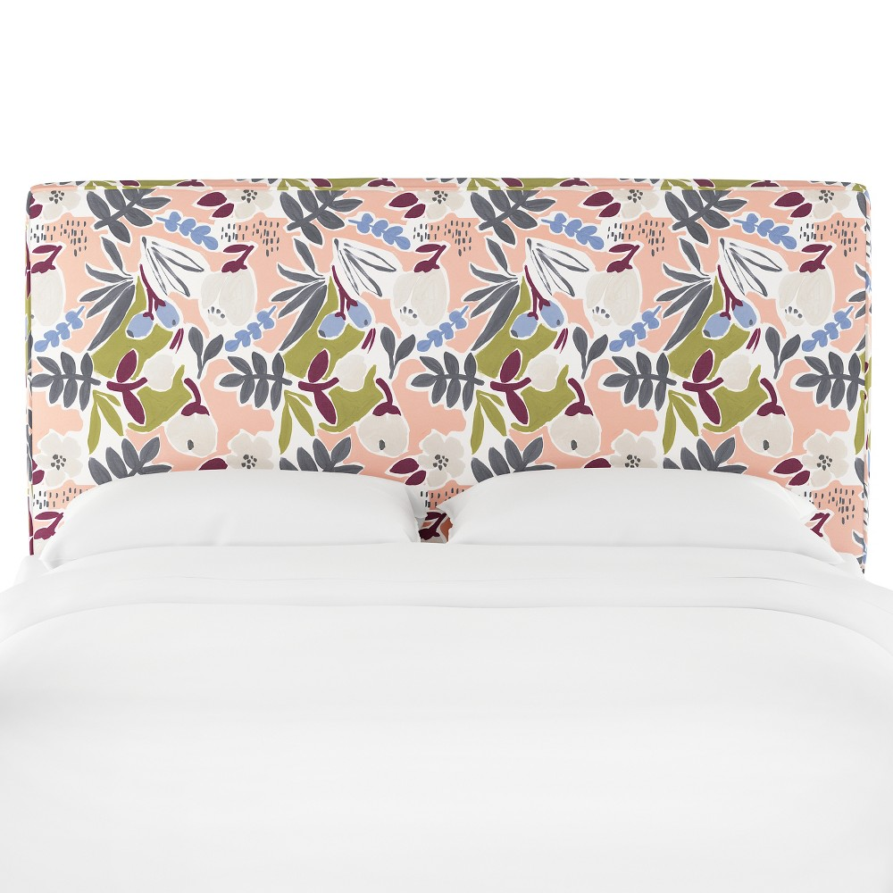 Full Harper Box Seam Headboard Peach Floral - Cloth & Co.