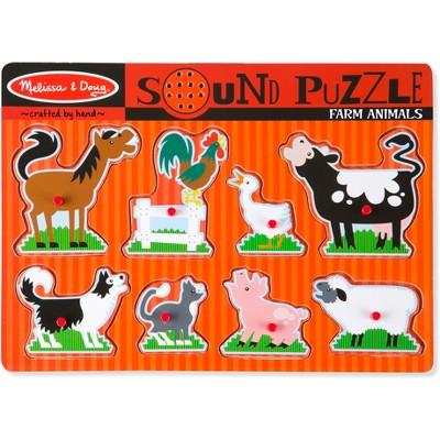 Melissa And Doug Farm Animals Wooden Peg Sound Puzzle 8pc