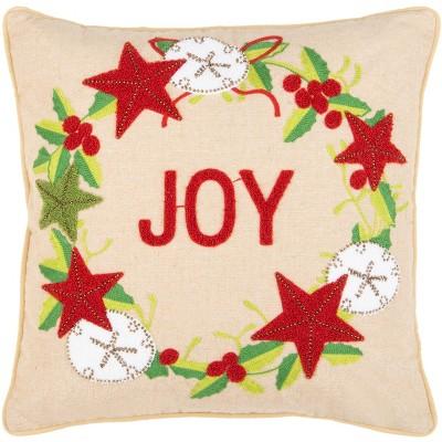 "Jolly Joy Pillow - Green/Red/Beige - 12"" X 20"" - Safavieh"