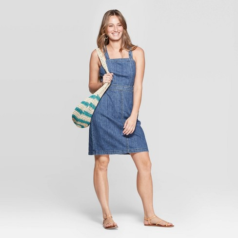 Women's Scoop Neck Tank Denim Dress - Universal Thread™ Medium Wash - image 1 of 3