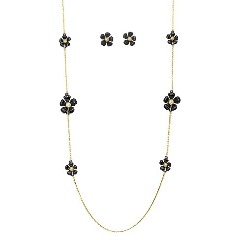 "Women's Zirconite Daisy Flowers and Crystals Enamel and Gold Electroplated Station Necklace and Earrings Set - Black (36"") - image 1 of 1"