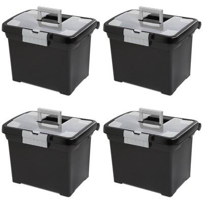 Sterilite Portable Lockable File Box Organizer with Handle (4 Pack)