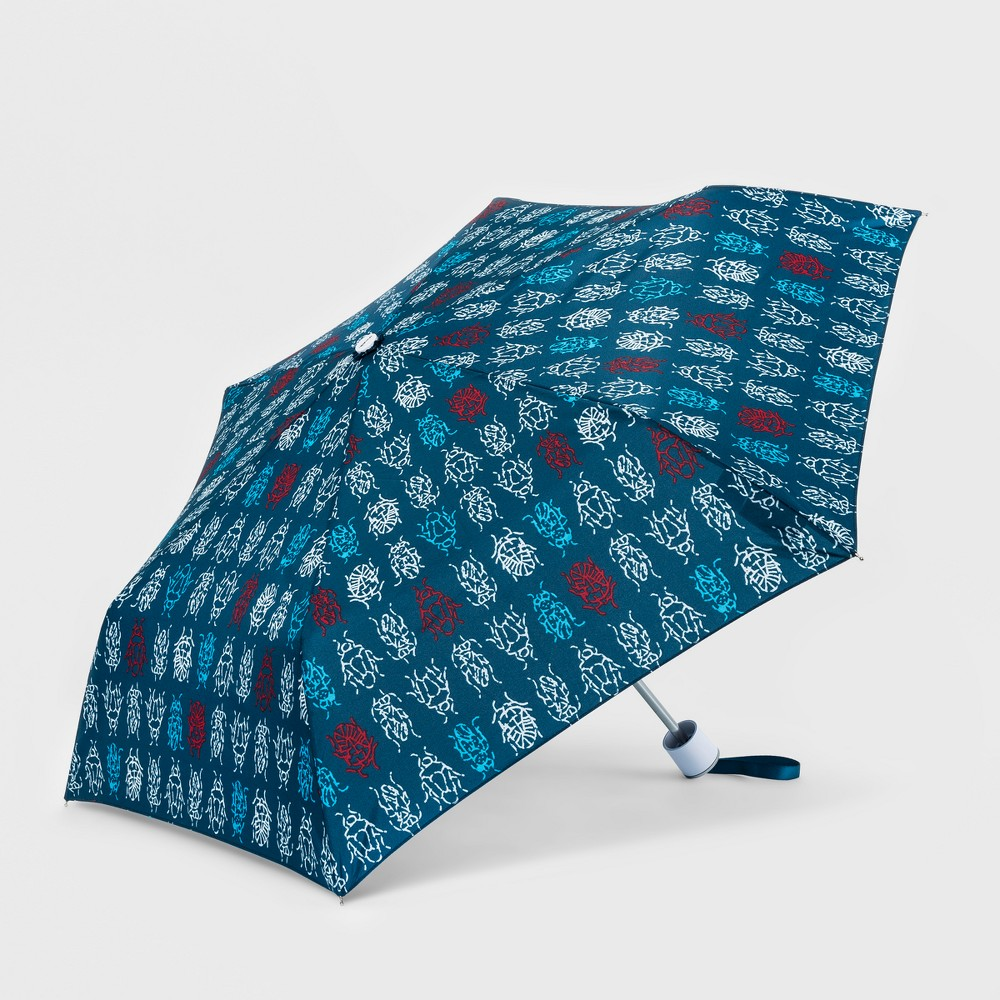 Image of Cirra by ShedRain Weevil Print Compact Umbrella - Blue