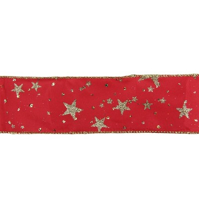 "Northlight Glittering Red and Gold Stars Christmas Wired Craft Ribbon 2.5"" x 16 Yards"