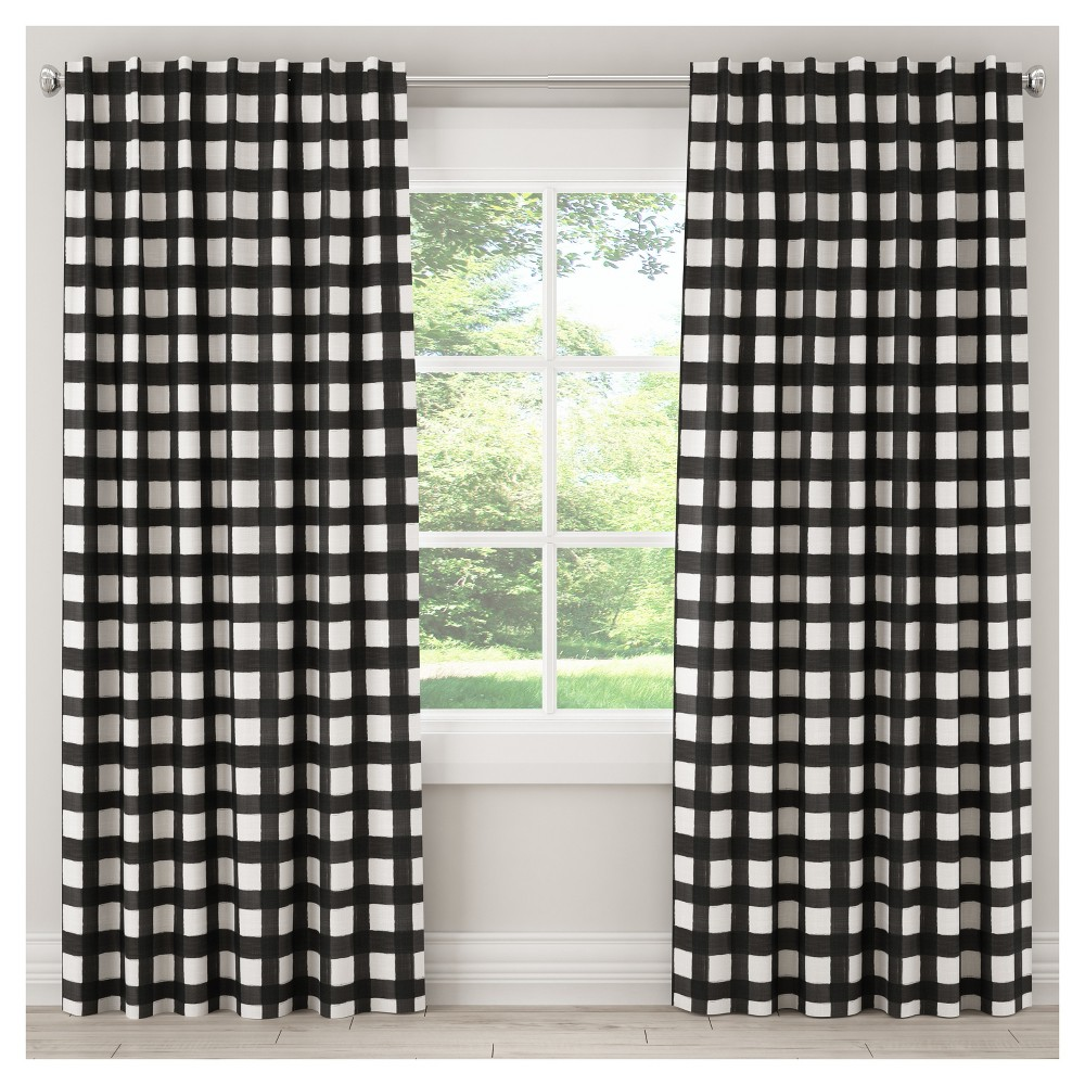 Blackout Buffalo Check Curtain Panel Black (50