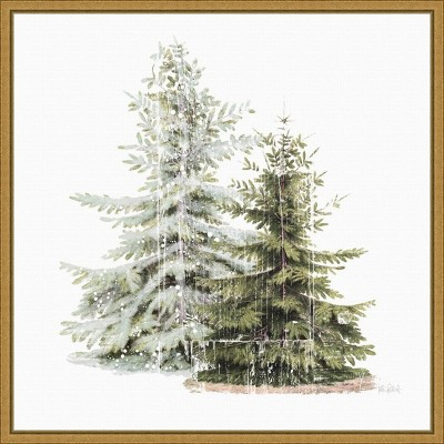 """16"""" x 16"""" Vintage Wooded Holiday Trees in Snow by Katie Pertiet Framed Canvas Wall Art - Amanti Art"""
