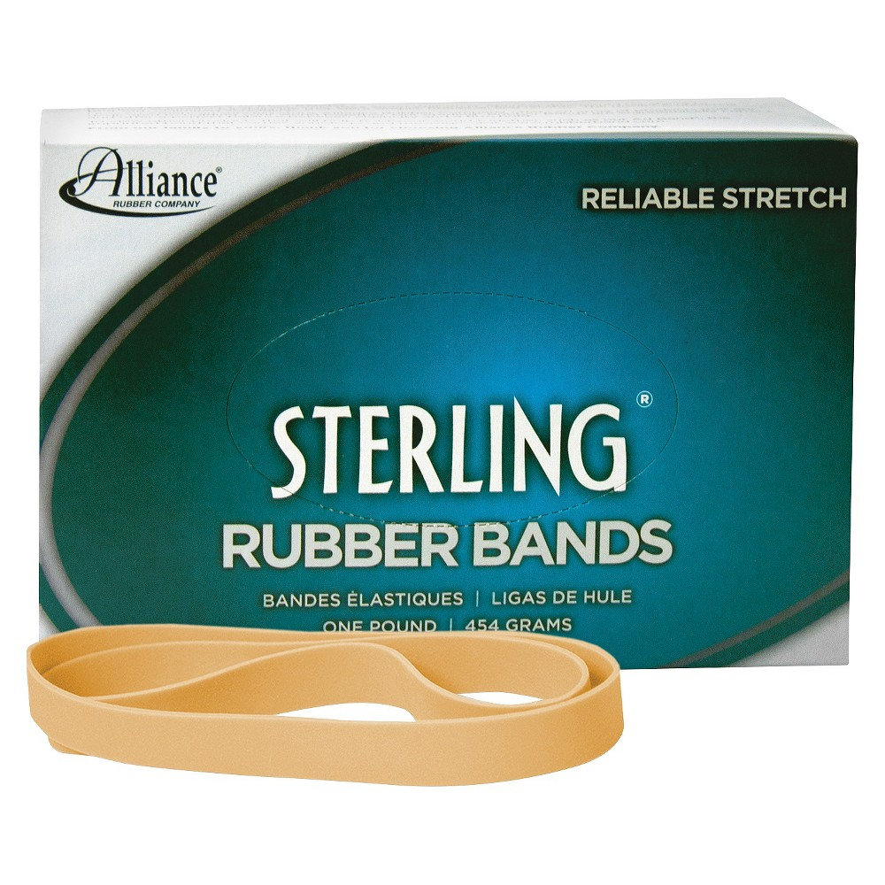Image of Alliance Sterling Ergonomically Correct Rubber Bands, #105, 5 x 5/8, 70 Bands/1lb Box, Beige
