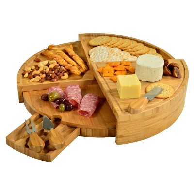 Picnic at Ascot Patented Swivel Bamboo Cutting Board for Cheese & Charcuterie