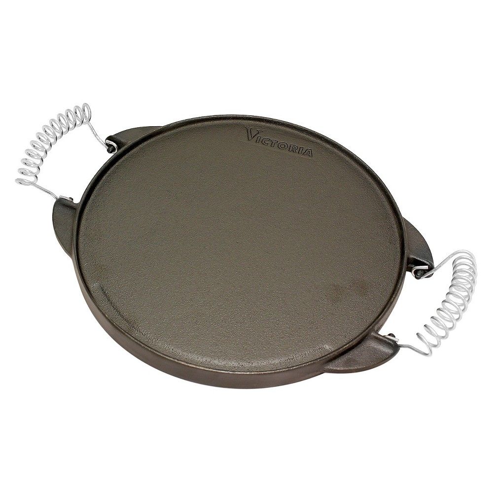 Victoria Round Reversible Cast Iron Griddle Grill with Cool-Touch Removable Handles - 12.5, Black