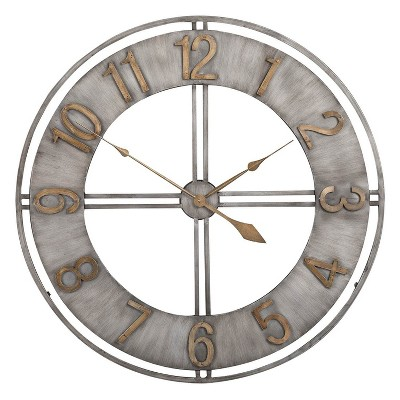 "Studio Designs 30"" Industrial Loft Analog Home Decor Wall Clock, Steel & Bronze"