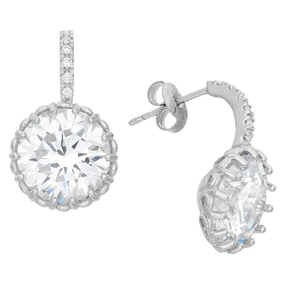 10mm Cubic Zirconia Drop Earrings in Sterling Silver