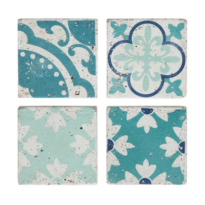Square Cement Tile Coasters Blue White Set Of 4 3r Studios Target