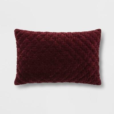 Hand-Quilted Velvet With Zipper Closure Lumbar Throw Pillow Berry - Threshold™