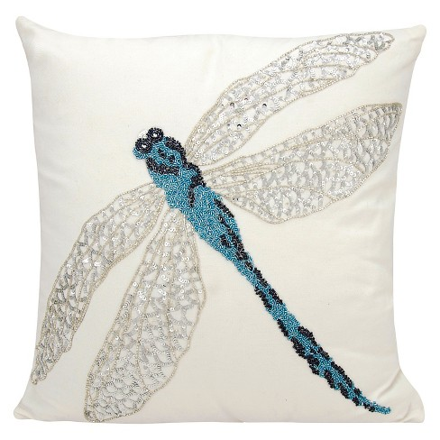 "Blue Beaded Dragon Fly Indoor/Outdoor Throw Pillow (18""x18"") - Nourison - image 1 of 2"