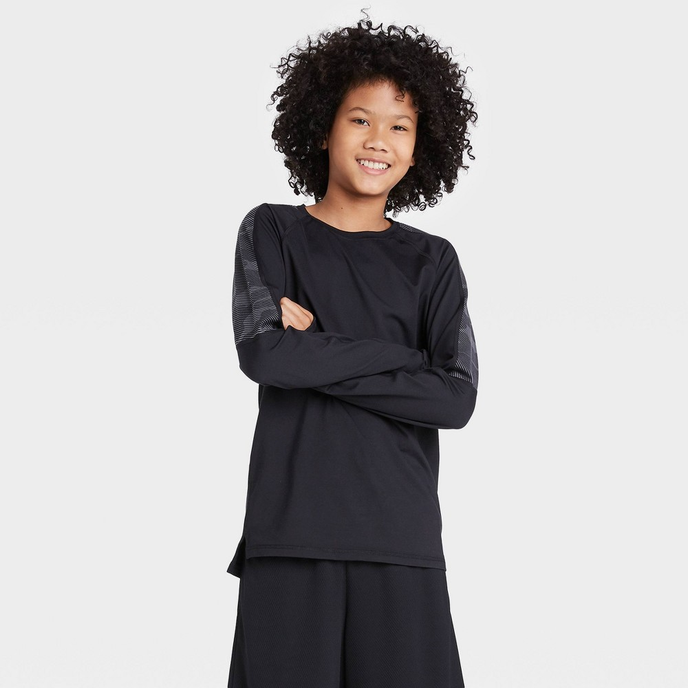Image of Boys' Long Sleeve Colorblock Soft Gym T-Shirt - All in Motion Black L, Boy's, Size: Large