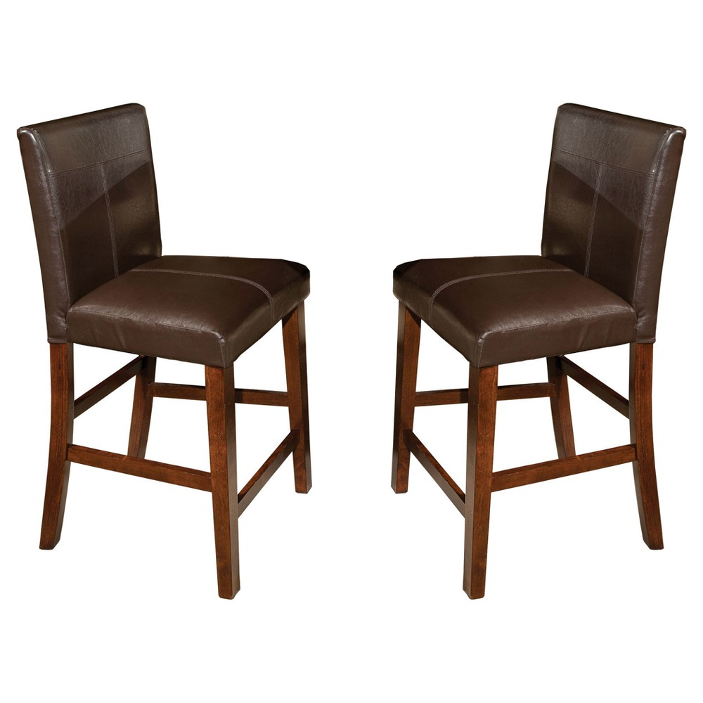 "Image of ""24"""" Kona Parsons Barstool with Faux Leather Seat Dark Raisin Finish (Set of 2) - Intercon, Brown"""