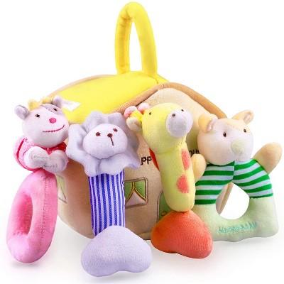 iPlay, iLearn - Soft Plush Animal Rattles, Infant & Baby Toys, Sensory, Teething, Squeak Sounds, Cotton  - Set of 4