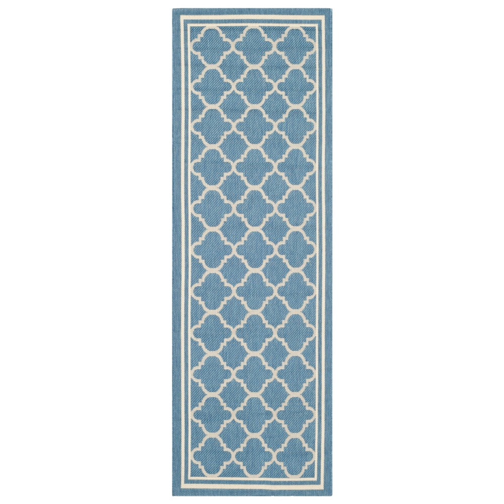 Renee 2'3 X 18' Runner Outer Patio Rug - Blue / Beige - Safavieh, Blue/Beige
