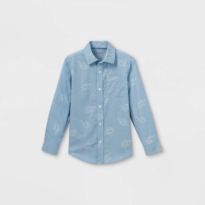 Boys' Woven Dino Print Long Sleeve Button-Down Shirt - Cat & Jack™ Blue