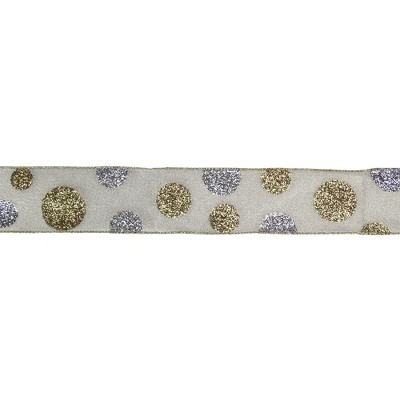 """Northlight Glitter Gold and Silver Polka Dotted Christmas Wired Ribbon 2.5"""" x 16 Yards"""