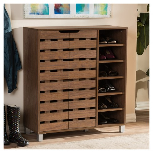 aad5f3c9faf Shirley Modern and Contemporary 2 - Door Shoe Cabinet with Open Shelves -  Walnut Brown - Baxton Studio