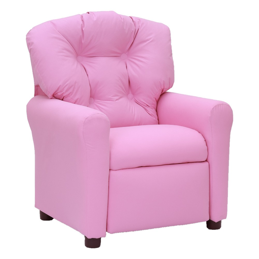 Kids Traditional Reclining Chair - Racy Pink Microfiber - Crew Furniture