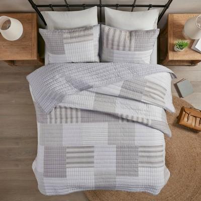 Full/Queen 3pc Aidan Reversible Cotton Coverlet Set Gray Multi