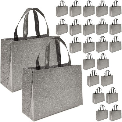 """Juvale 12 Pack Reusable Glitter Grocery Tote Bags with Handles Durable & Heavy Duty Shopping Totes, 15"""" x 12.5"""" Grey"""