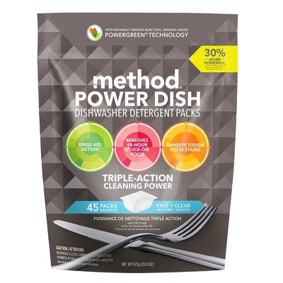 Method Dishwasher Detergent Power Packets Free & Clear - 45ct