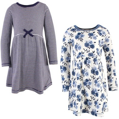 Touched by Nature Big Girls and Youth Organic Cotton Long-Sleeve Dresses 2pk, Navy Floral