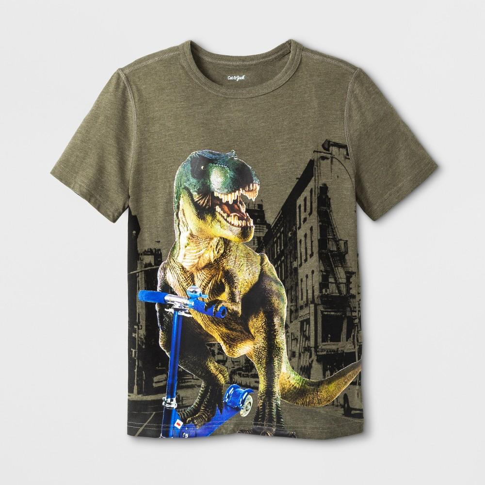 Boys' Adaptive Short Sleeve Dino Graphic T-Shirt - Cat & Jack Green XL