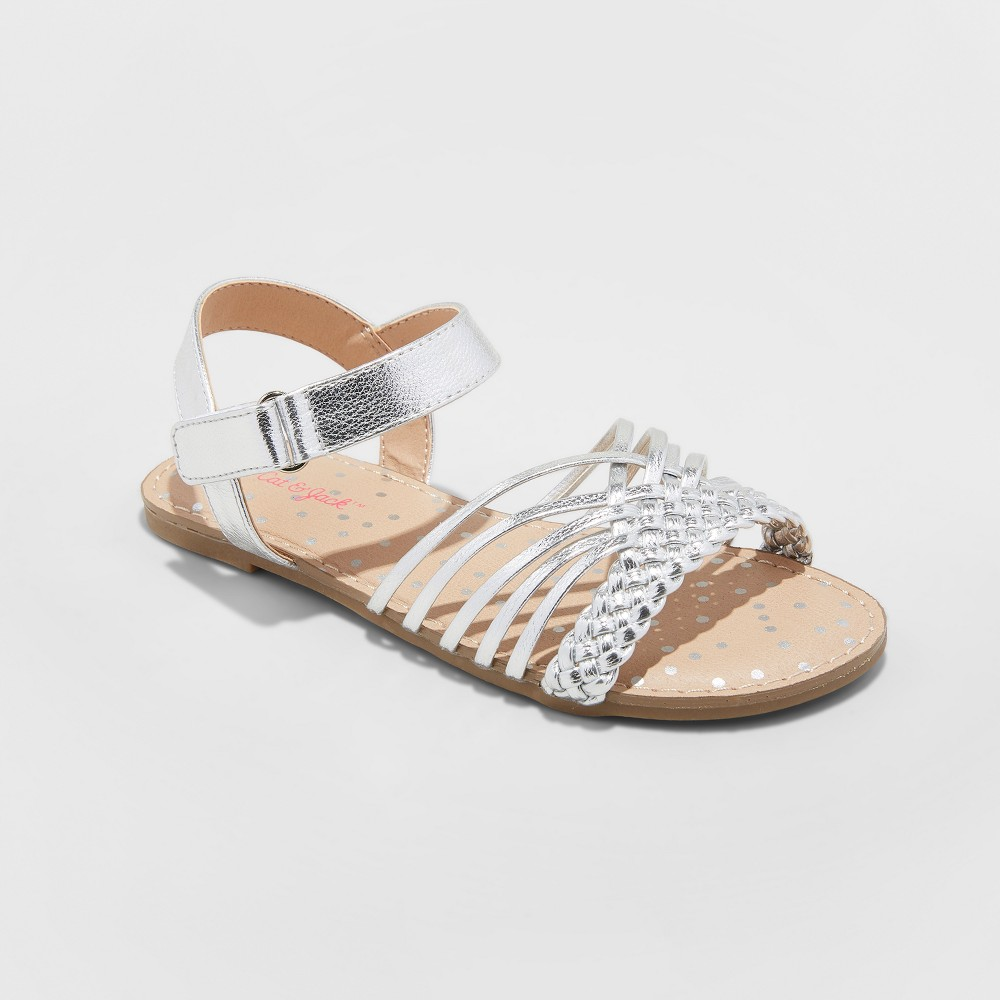 Girls' Naima Hurrache Sandals - Cat & Jack Silver 4
