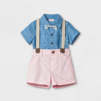 Baby Boys' Chambray Suspender Top & Bottom Set with Bowtie - Cat & Jack™ Pink 3-6M