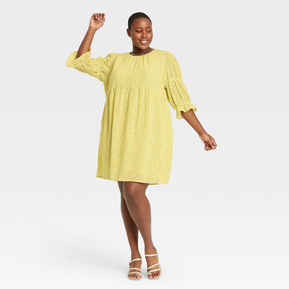 Women 39 S Plus Size Dash Print Puff Elbow Sleeve A Line Dress Who What Wear 8482 Yellow 4x