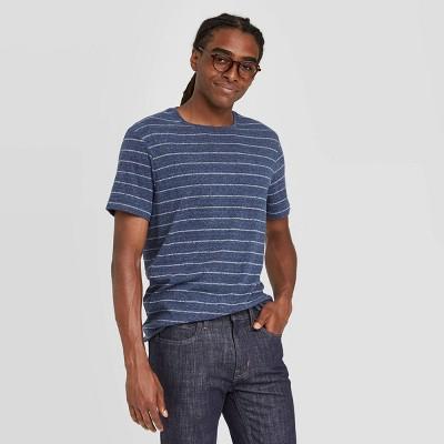 Men's Regular Fit Novelty Crew Neck Jacquard Stripes T-Shirt - Goodfellow & Co™ Blue