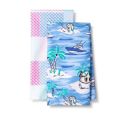 Kitchen Towel - Set of 2 - Island Scene & Patchwork Whale - vineyard vines® for Target