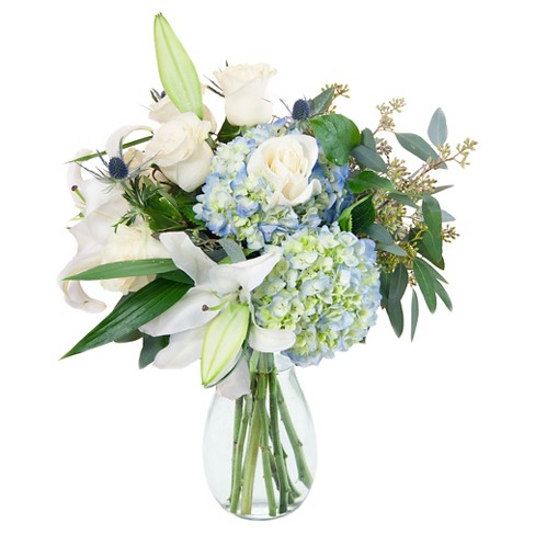 KaBloom Over The Moon Lily and Hydrangea Fresh Flower Arrangement  - with Vase - image 1 of 1