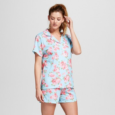 Bride & Beauties by Bedhead Pajamas Women's Notch Collar Classic Cabbage Rose Shorty 2pc Pajama Set - Blue L