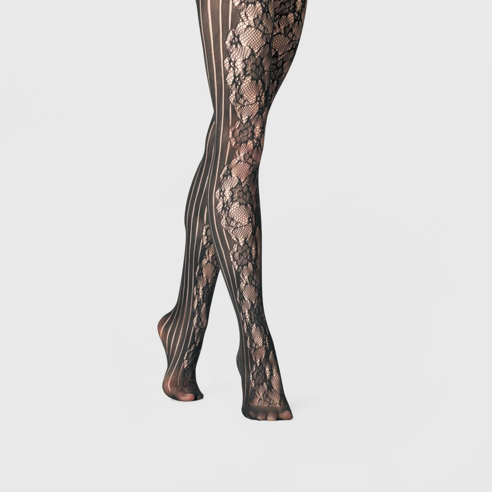 Women's Rose Net and Striped Tights - A New Day Black 1X/2X