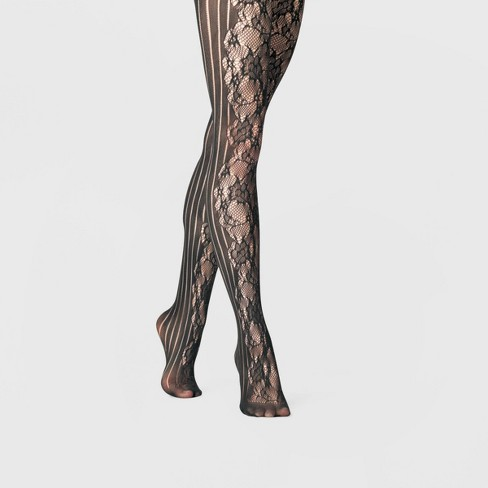 b7ec42f21 Women's Rose Net And Striped Tights - A New Day™ Black : Target