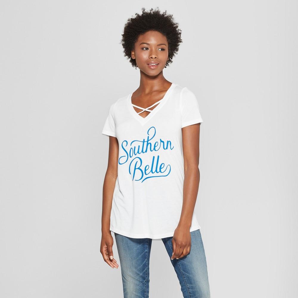 Women's Short Sleeve Southern Belle Graphic T-Shirt - Awake White M
