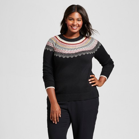 hot-selling hot sales official images Women's Plus Size Pullover Sweater - A New Day™ Black Fairisle X
