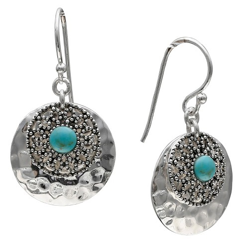 Women's Oxidized and Turquoise Hammered Circle Drop Earrings in Sterling Silver - Silver/Turquoise (32mm) - image 1 of 1