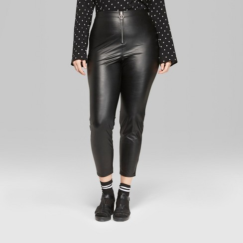 c92a1016ca791 Women s Plus Size Faux Leather High-Rise Leggings With O-Ring Zipper - Wild  Fable™ Black   Target