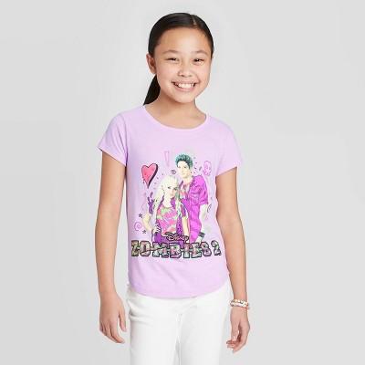 Girls' Disney Zombies and Cheerleaders Short Sleeve Graphic T-Shirt - Purple