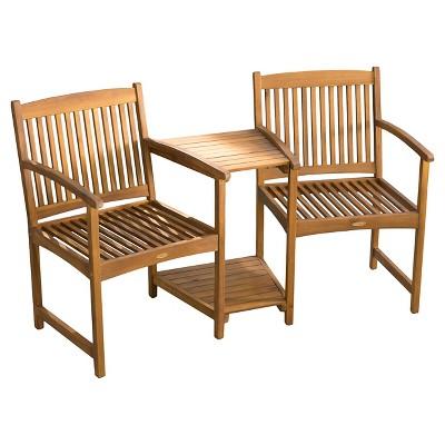 Carolina Acacia Adjoining Patio Chairs- Natural - Christopher Knight Home